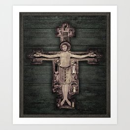 Medieval Style Jesus Christ on Cross Sculpture Artwork Art Print