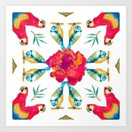 Tropical Scarlet Macaw Mandala Art Print