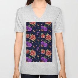 Vintage navy blue red purple botanical floral pattern Unisex V-Neck