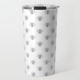 Vintage Honey Bees in Grey on White Travel Mug