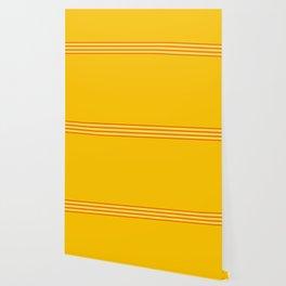 Filigree Thin Stripes on Yellow Wallpaper