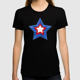 Patriotic Star Solid Red White and Blue T-shirt