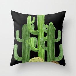 Desert Vacay Three Cacti on Black Throw Pillow