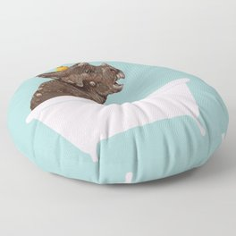Playful Triceratop in Bathtub Floor Pillow