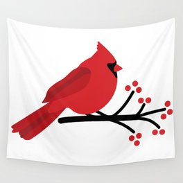 Cardinal on Branch Wall Tapestry