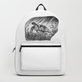 Sea Turtle Swimming and coral by annmariescreations Backpack