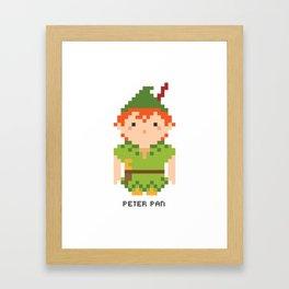 Peter Pan Pixel Character Framed Art Print