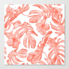 Tropical Hibiscus and Palm Leaves Dark Coral White Canvas Print