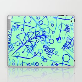 Vector botanical bright pattern of blue and cobalt plants and grass on a blue background. For paper Laptop & iPad Skin