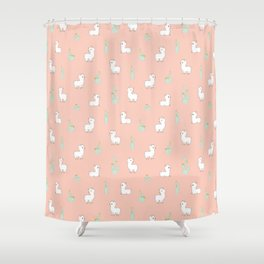 cactus and alpaca pattern Shower Curtain
