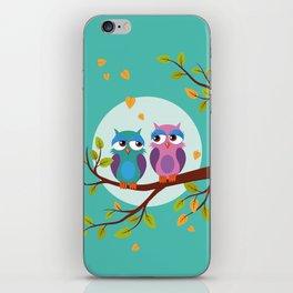Sleepy owls in love iPhone Skin