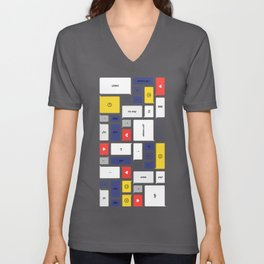 LOL, Mondrian – White / Blue / Yellow / Red Abstract Print Unisex V-Neck