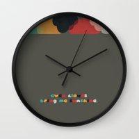 always sunny Wall Clocks featuring Always sunny by Schwebewesen • Romina Lutz