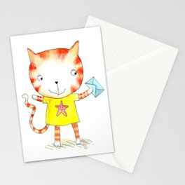 Ginger kitten watercolour Stationery Cards
