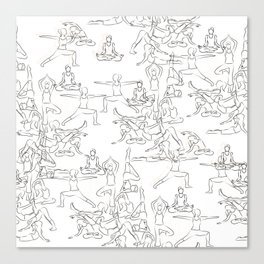 Yoga Asanas black on white Canvas Print