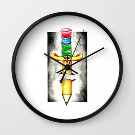 Pencil Dagger Wall Clock