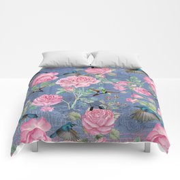 Vintage Watercolor hummingbird and English Roses on blue Background Comforters