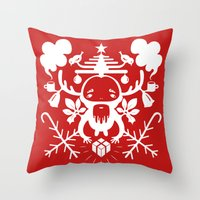 xmas Throw Pillows featuring XMAS by RUEI