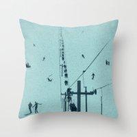 ski Throw Pillows featuring Ski lift by Grilldress