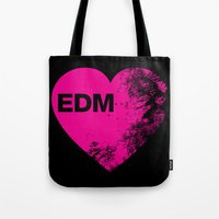 edm Tote Bags featuring EDM Heart by DropBass