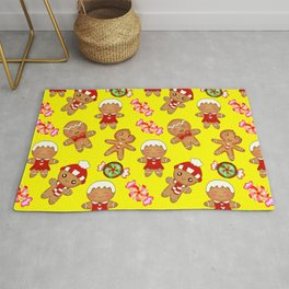 Cute pretty hygge yellow pattern. Happy gingerbread men and sweet xmas caramel chocolate candy Rug