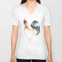 cock V-neck T-shirts featuring Cock by Katrin Kadelke