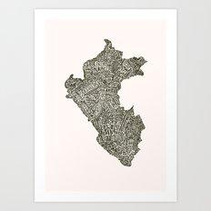 Lettering map of Perú Art Print