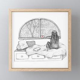 Rainy Day Window pencil illustration Framed Mini Art Print