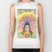 shiva Biker Tanks featuring Sunflower Shiva by BradButler