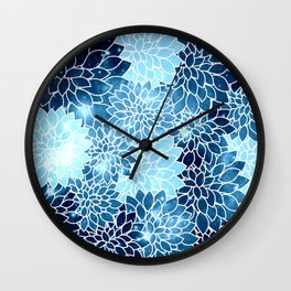 Space Dahlias Blue Ice Wall Clock
