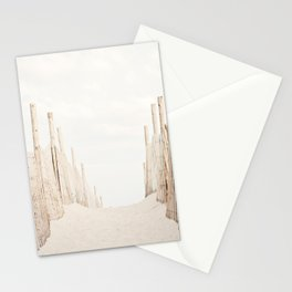Beach Photography, Coastal Dunes Art, Neutral Seashore Photo, Beach Fence, Seaside Coast Picture Stationery Cards