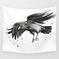 raven Wall Tapestries featuring Raven by Olechka