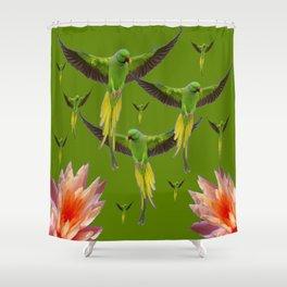 FLOCK OF GREEN FLYING FAIRY BIRDS  & PEACH FLOWERS ART Shower Curtain