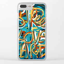 Street Loves Art Graffiti Urban Art Writing Blue and Yellow Clear iPhone Case