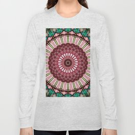 Mandala in red, light and dark green Long Sleeve T-shirt
