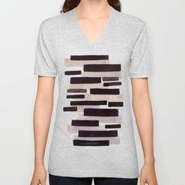Grey Primitive Stripes Mid Century Modern Minimalist Watercolor Gouache Painting Colorful Stripes Wa Unisex V-Neck