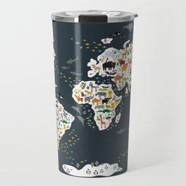 Cartoon animal world map for kids, back to schhool. Animals from all over the world Travel Mug