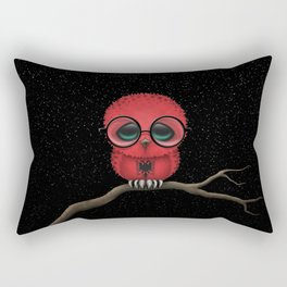 Baby Owl with Glasses and Albanian Flag Rectangular Pillow