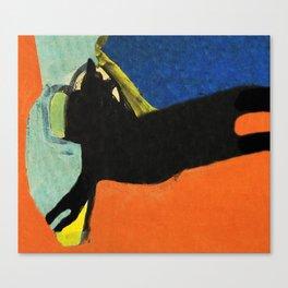 Black Dog and Green Ball Canvas Print
