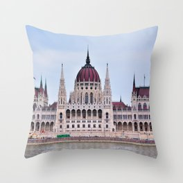 Panorama view of the famous Hungarian Parliament. Throw Pillow