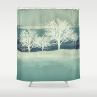 jack frost Shower Curtains featuring Frost by SpaceFrogDesigns