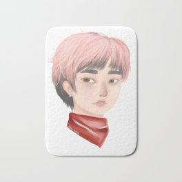 Pink Haired-Sweetie - Sweet Guy with Pink Hair and Red Bandanna Bath Mat