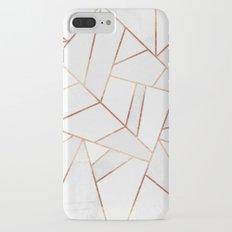 White Stone & Copper Lines Slim Case iPhone 7 Plus