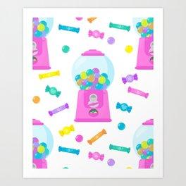 Pink Candy Dispenser – Rainbow Candy Shop Pattern Art Print