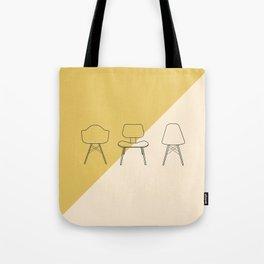 Eames Chairs // Mid Century Modern Minimalist Illustration Tote Bag