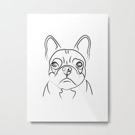 Frenchie Line Drawing Metal Print