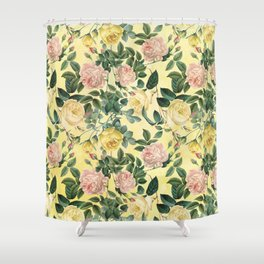 Vintage & Shabby Chic - Yellow Summer Roses Garden Shower Curtain