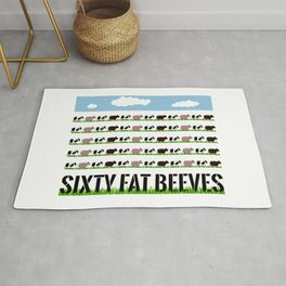 60 Fat Beeves - Cow Cartoon by WIPjenni Rug