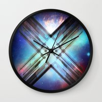 sci fi Wall Clocks featuring Sci-Fi Shards by Alli Vanes
