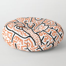 """""""The Face"""" - inspired by Keith Haring v. orange Floor Pillow"""